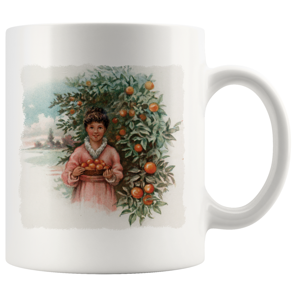 Vintage scenes of the fall harvest in the 1800s on mugs