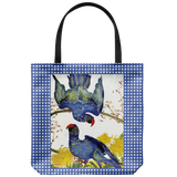 Tote bag with bright & happy blue parrots - vintage artwork