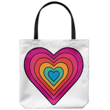 Bright retro-style rainbow heart with black lines - Available on 5 different color bags