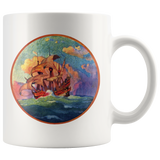 Mug with an old sailing ship at sunset - Vintage artwork from 1923
