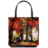 Tote bag with vintage autumn scene painting from 1922