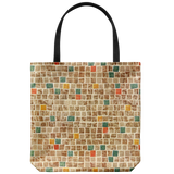 Tote bags with 1950s mosaic tile patterns