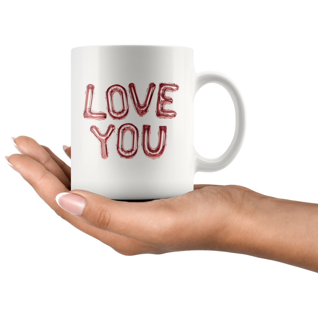 LOVE YOU letter balloon mugs - Available in pink, blue, purple, rose gold & multicolored