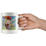 Mug with cute vintage graphic of a little girl from the 1920s on her way to school