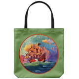 Tote bags with an old sailing ship at sunset - Vintage artwork from 1923