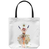 Tote bag with an illustration of a glamorous dancer with a dress of flowers - Art from 1951