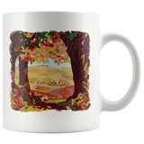 Quaint little town painting from 1937 on a two-sided mug
