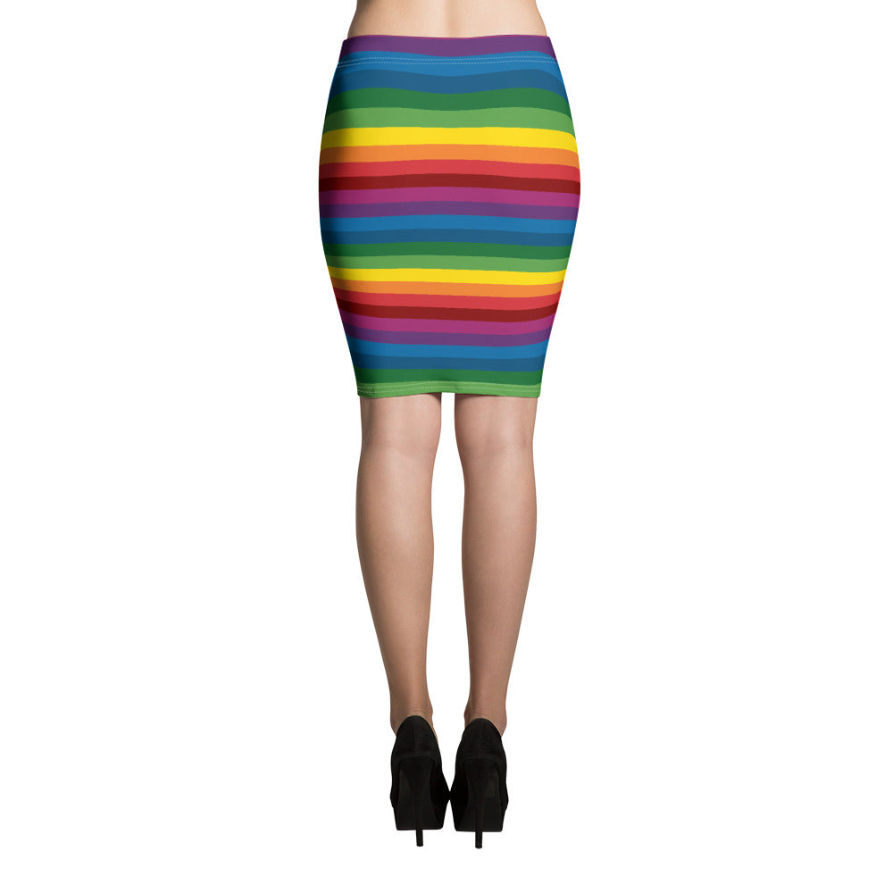 Slim & flattering pencil skirt with RetroRainbow horizontal striped pattern