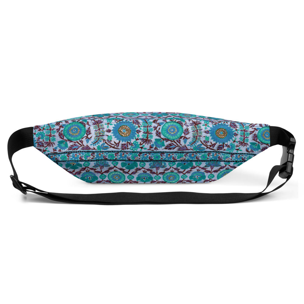 Moraga waist bag/fanny pack with vintage embroidery-effect flowers in blue