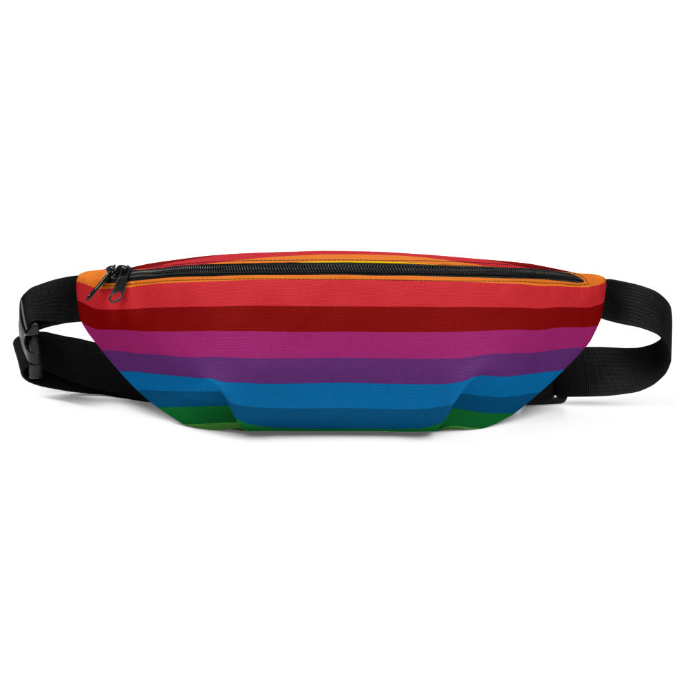 RetroRainbow waist bag/fanny pack with bold multicolored vintage-inspired stripe pattern