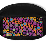 Brightspots waist bag/fanny pack: Multicolored retro-inspired circles & dots on black background