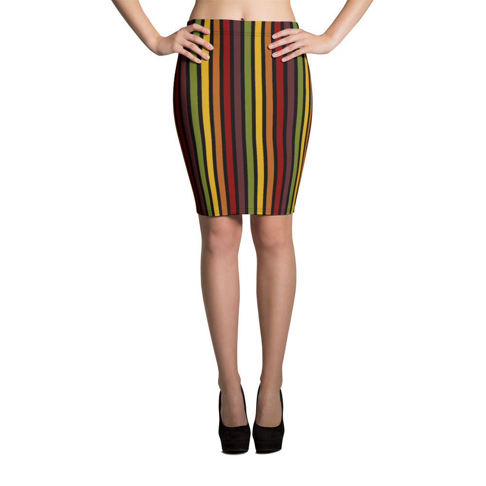 Marrakesh pattern retro '70s-style slim pencil skirt