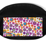 Brightspots waist bag/fanny pack: Multicolored retro-inspired circles & dots on white background