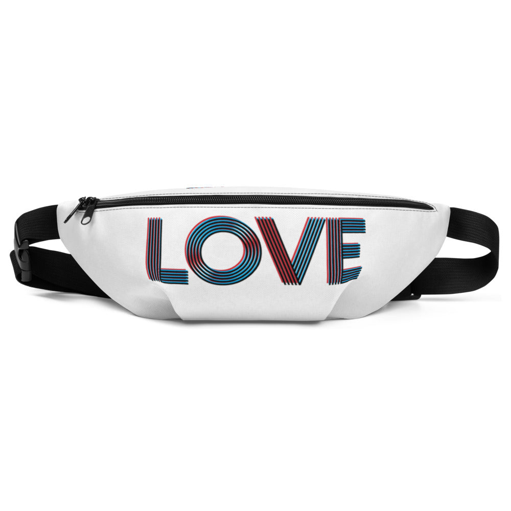 LOVE - retro-feel graphic on a waist bag/fanny pack