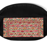 Moraga waist bag/fanny pack with vintage embroidery-effect flowers in red