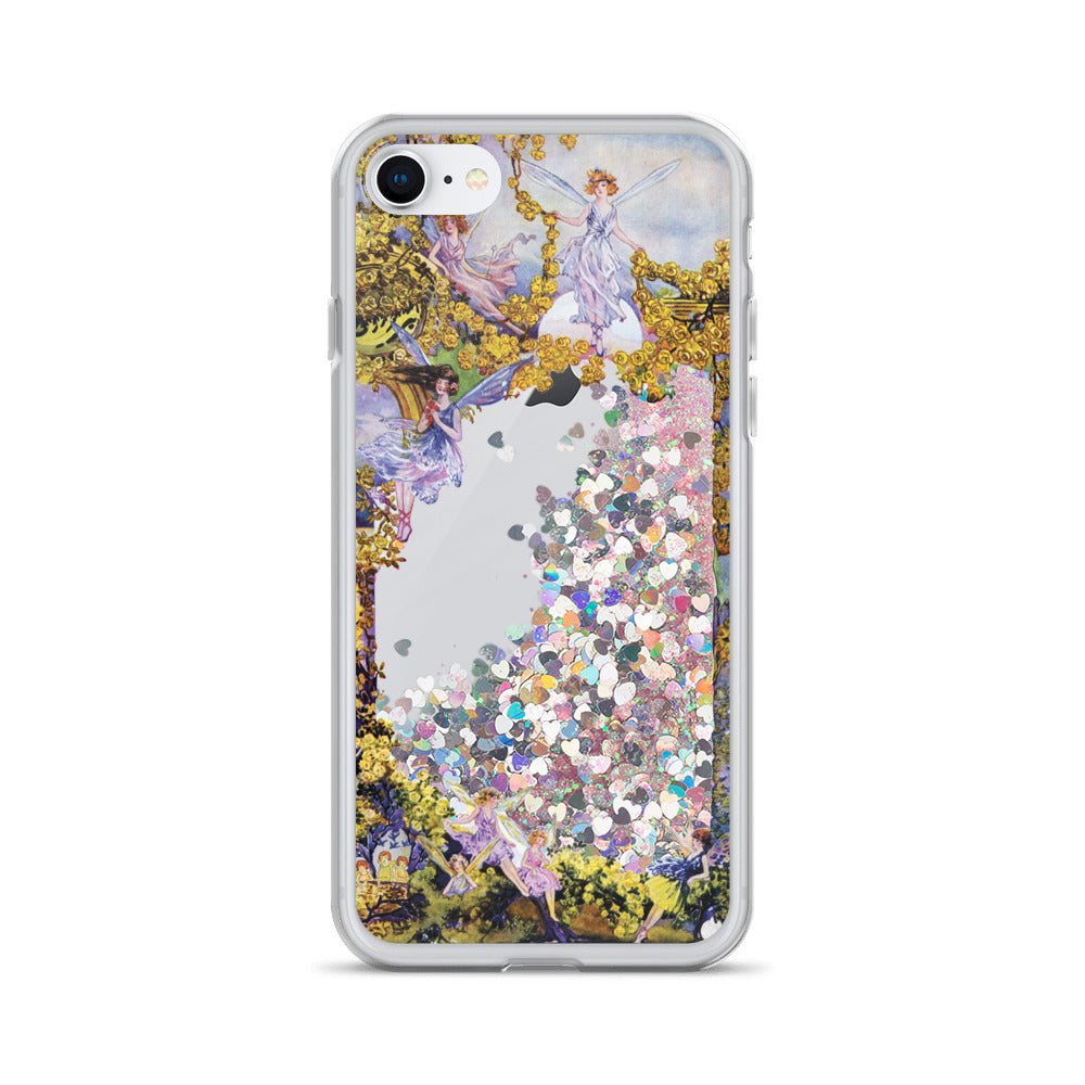 Fairies liquid glitter phone case: Interactive phone protector with vintage design