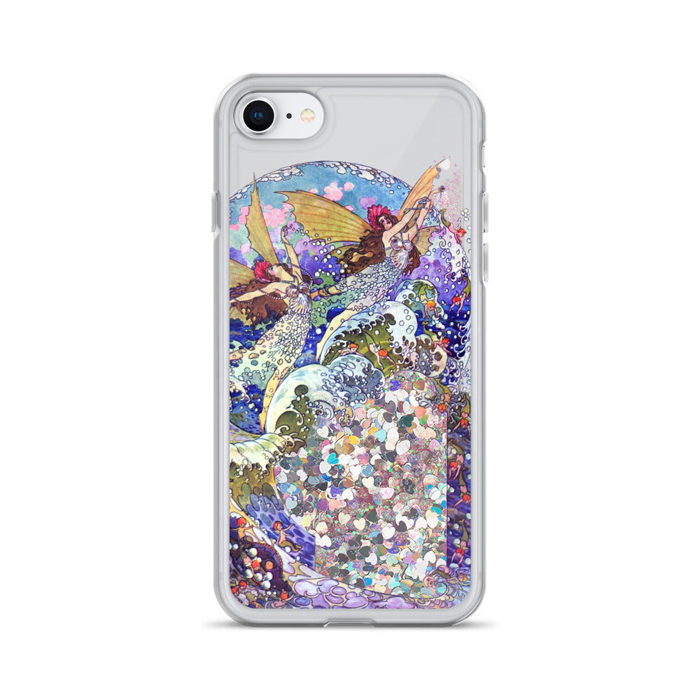Water fairies liquid glitter phone case: Interactive phone protector with vintage art