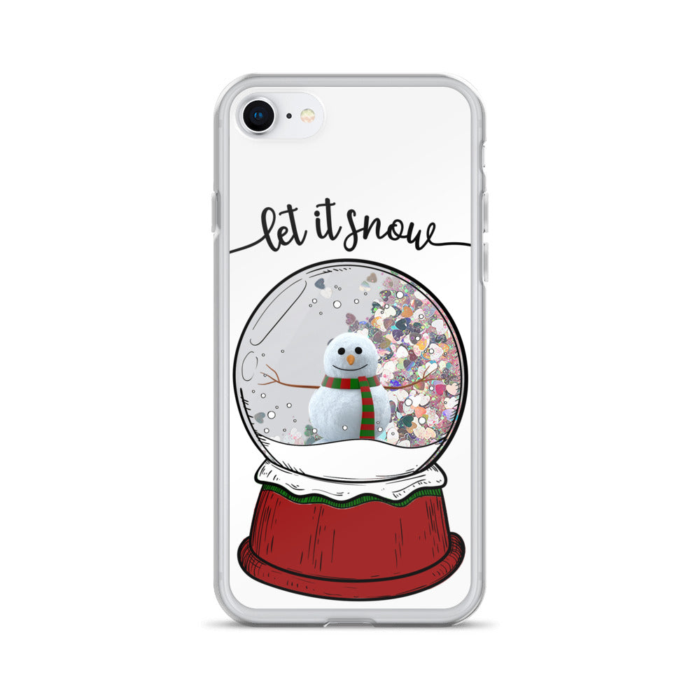 Let it snow: Snowman in a snow globe liquid glitter phone case for winter/Christmas