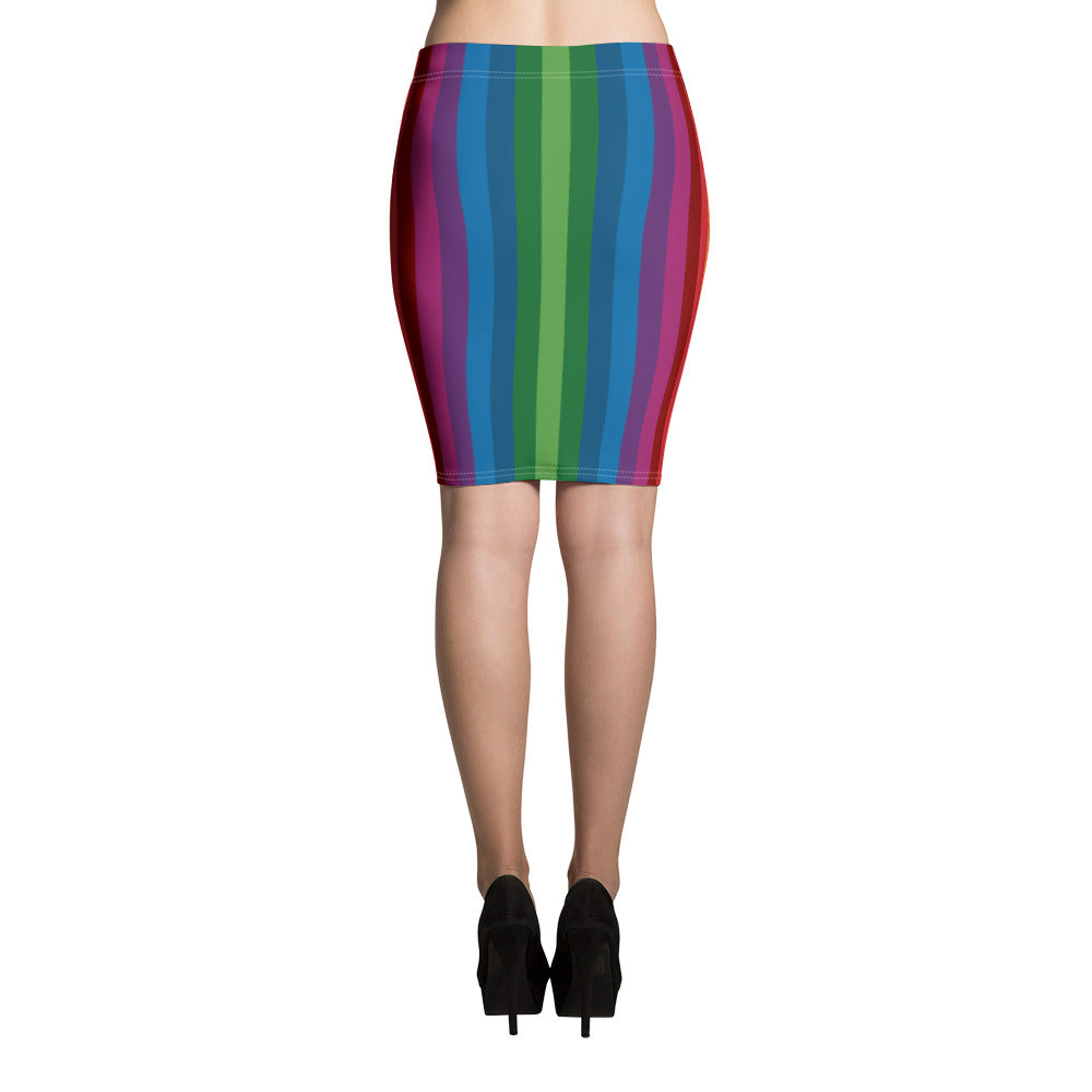 Slim & flattering pencil skirt with RetroRainbow vertical striped pattern