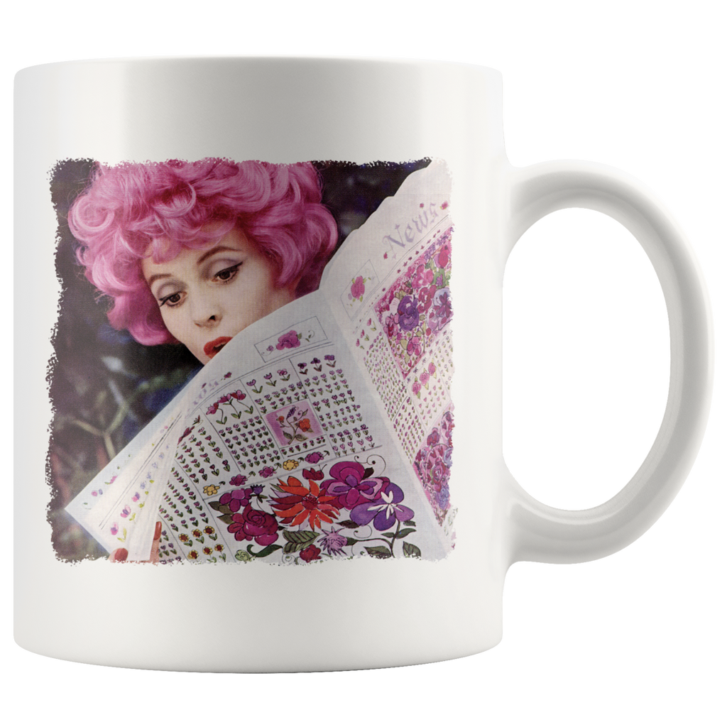 Mug with a photo of a vintage woman with pink hair reading the newspaper