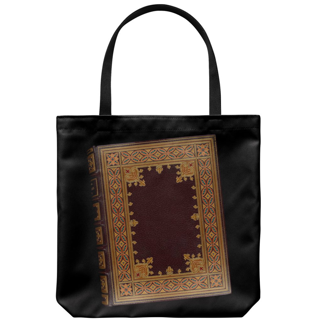 Book bags: Antique leather book covers on totes in 2 styles