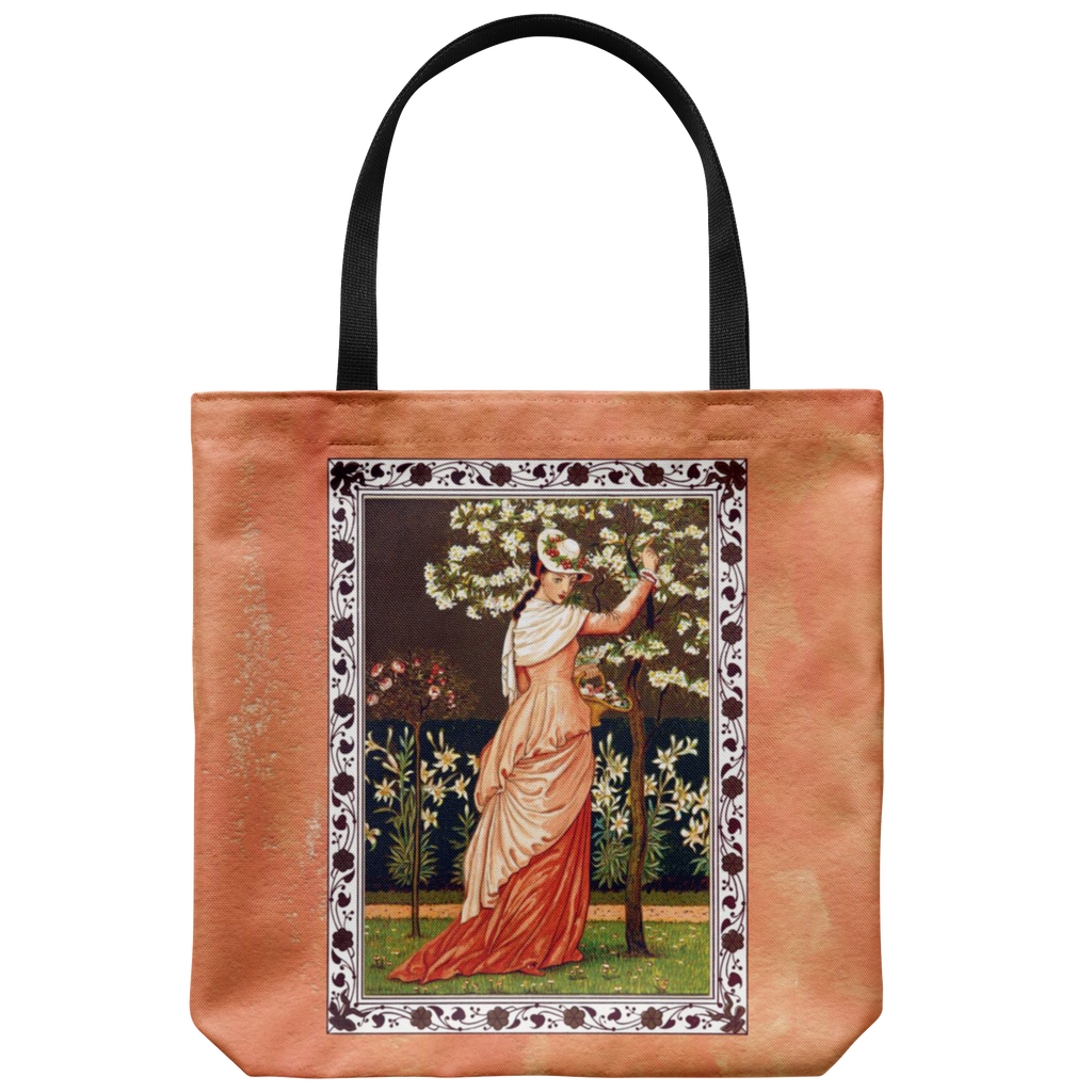 Tote bag with lovely 19th century woman with flowers and trees