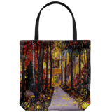 Tote bag with an elegantly classic house in the evening, surrounded by fall leaves
