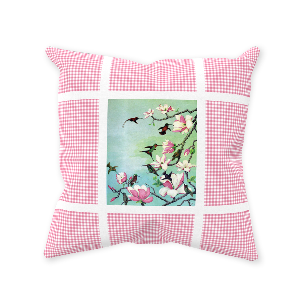 Hummingbird pink check throw pillows