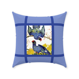 Blue parrot throw pillows
