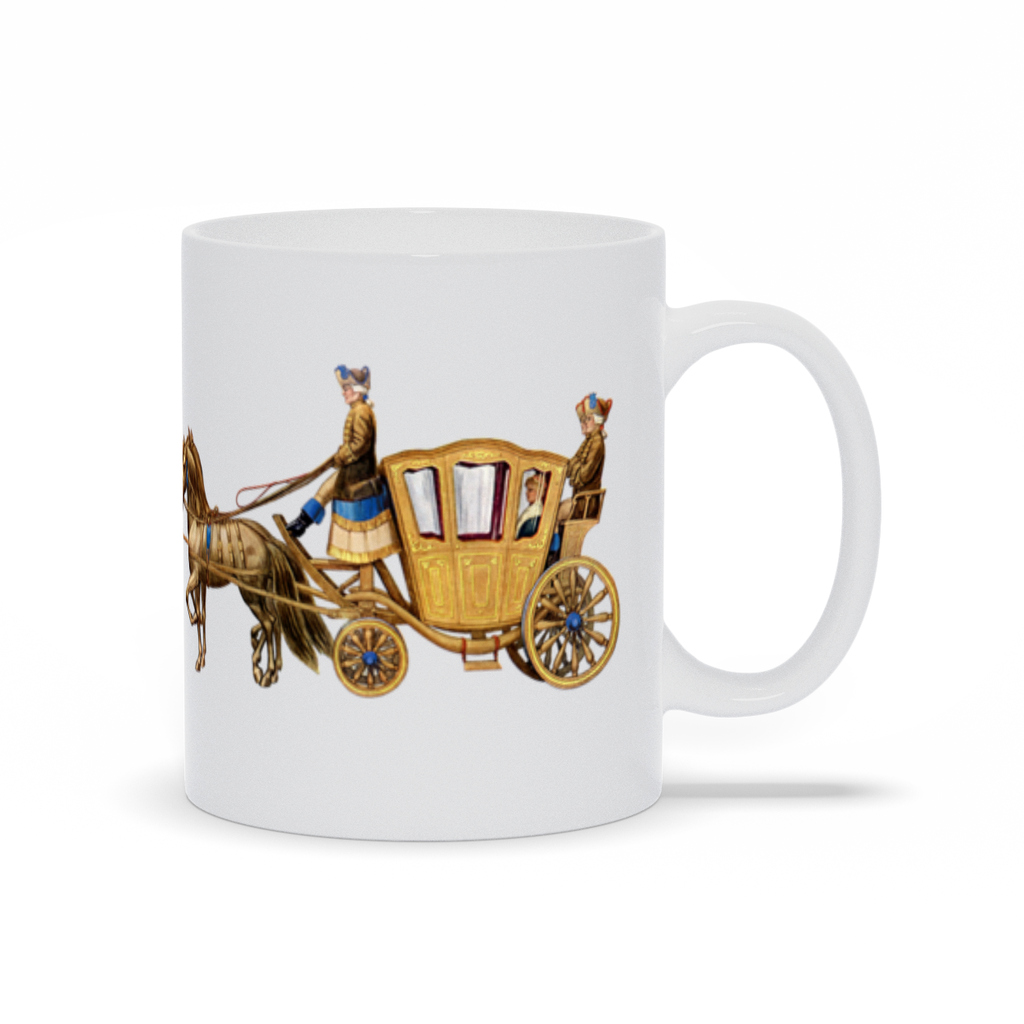 Antique horse and carriage graphic on a wrap-around mug