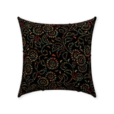 Pierced Petals throw pillows: Color under black - Two antique patterns overlaid
