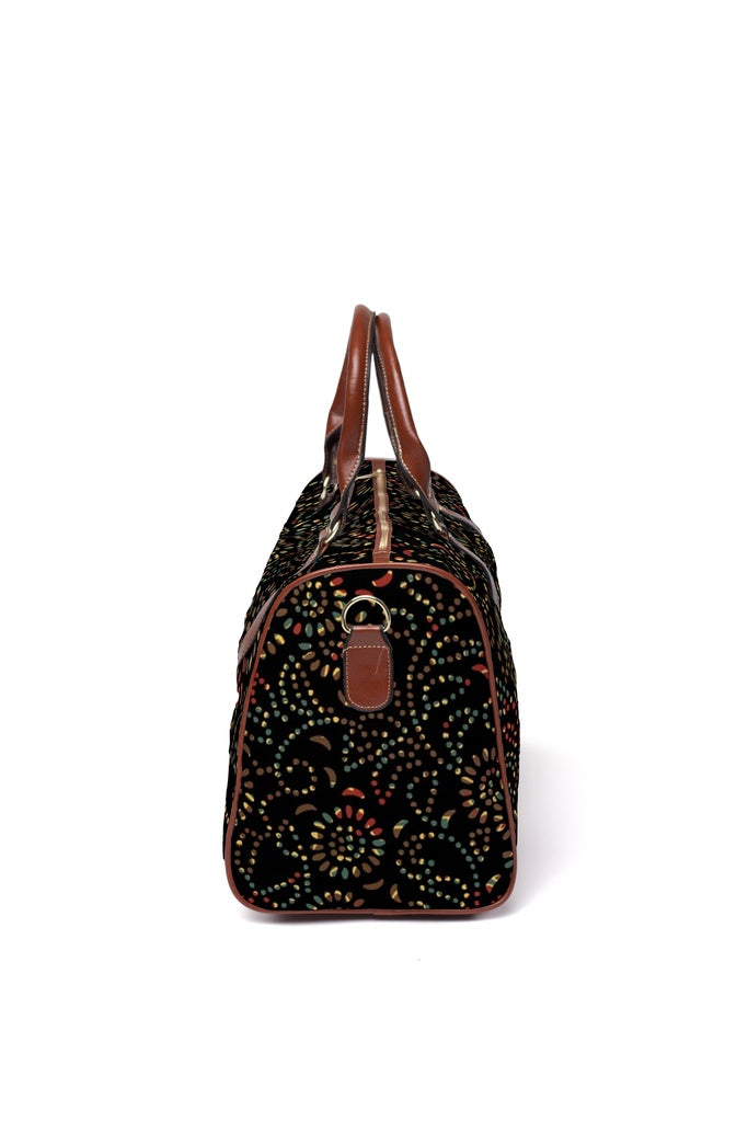 Pierced Petals travel bags: Color under black - Two antique patterns overlaid
