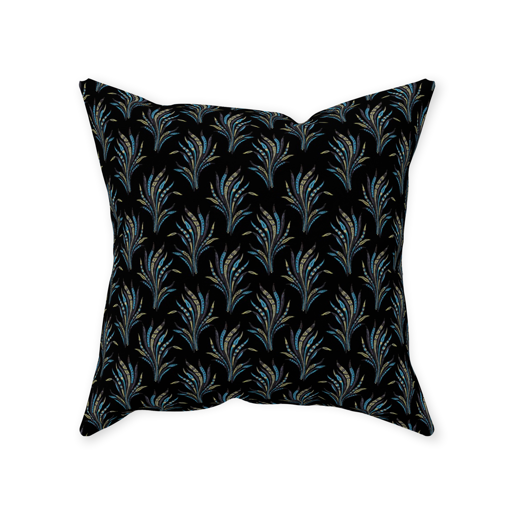 Alexandria throw pillows with a vintage leaf pattern on black background