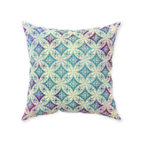Morgan throw pillows: Cream-colored traditional pattern overlaid on a pastel tie-dye gradient
