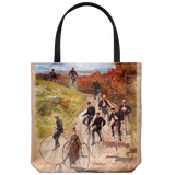 Tote bag with people riding vintage penny farthing bicycles - Late Victorian era
