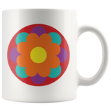Mugs with retro groovy stylized flowers- 4 different seventies-inspired designs