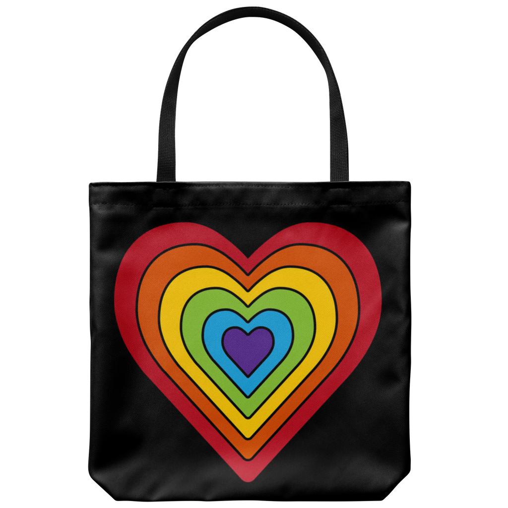 Retro-style rainbow heart with black lines - Available on 5 different color bags