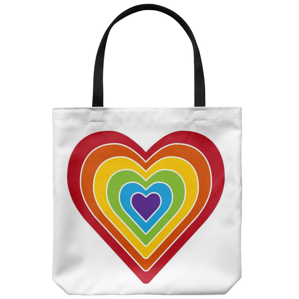 Retro-style rainbow heart with white lines - Available on 5 different color bags