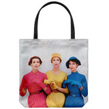 Funny vintage-style tote bag, with picture of three women from the '50s looking up