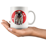 Bulldog mama & puppy with hearts on an 11-ounce mug - Adorable vintage dog graphic from the '50s