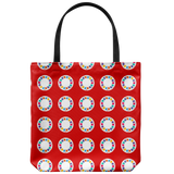 Tote bags with whimsical vintage toy slide viewer reels - 5 colors available