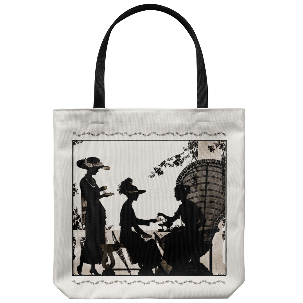 Tote bag with silhouettes of a '20s tea party