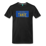 TAHOE vintage California blue/yellow license plate on a unisex T-shirt - black