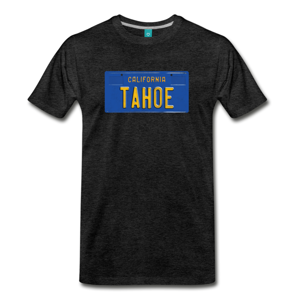 TAHOE vintage California blue/yellow license plate on a unisex T-shirt - charcoal gray