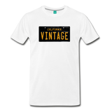VINTAGE vintage California black/yellow license plate on a unisex T-shirt - white