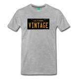 VINTAGE vintage California black/yellow license plate on a unisex T-shirt - heather gray