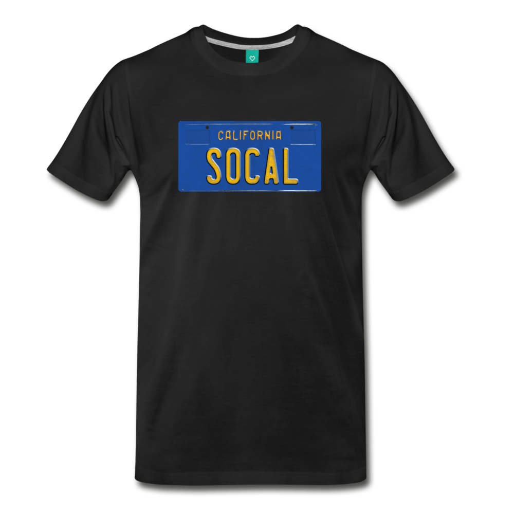 SOCAL vintage California blue/yellow license plate on a unisex T-shirt - black