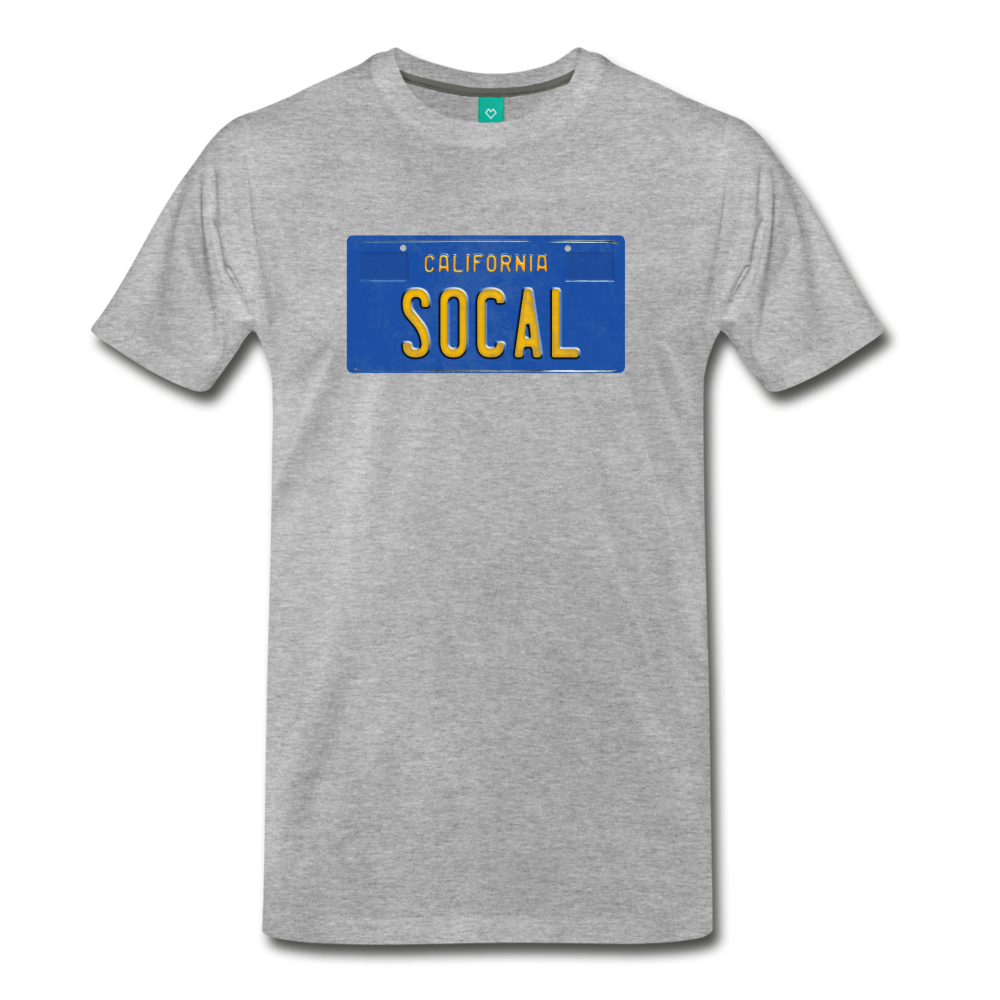 SOCAL vintage California blue/yellow license plate on a unisex T-shirt - heather gray