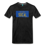 SOCAL vintage California blue/yellow license plate on a unisex T-shirt - charcoal gray