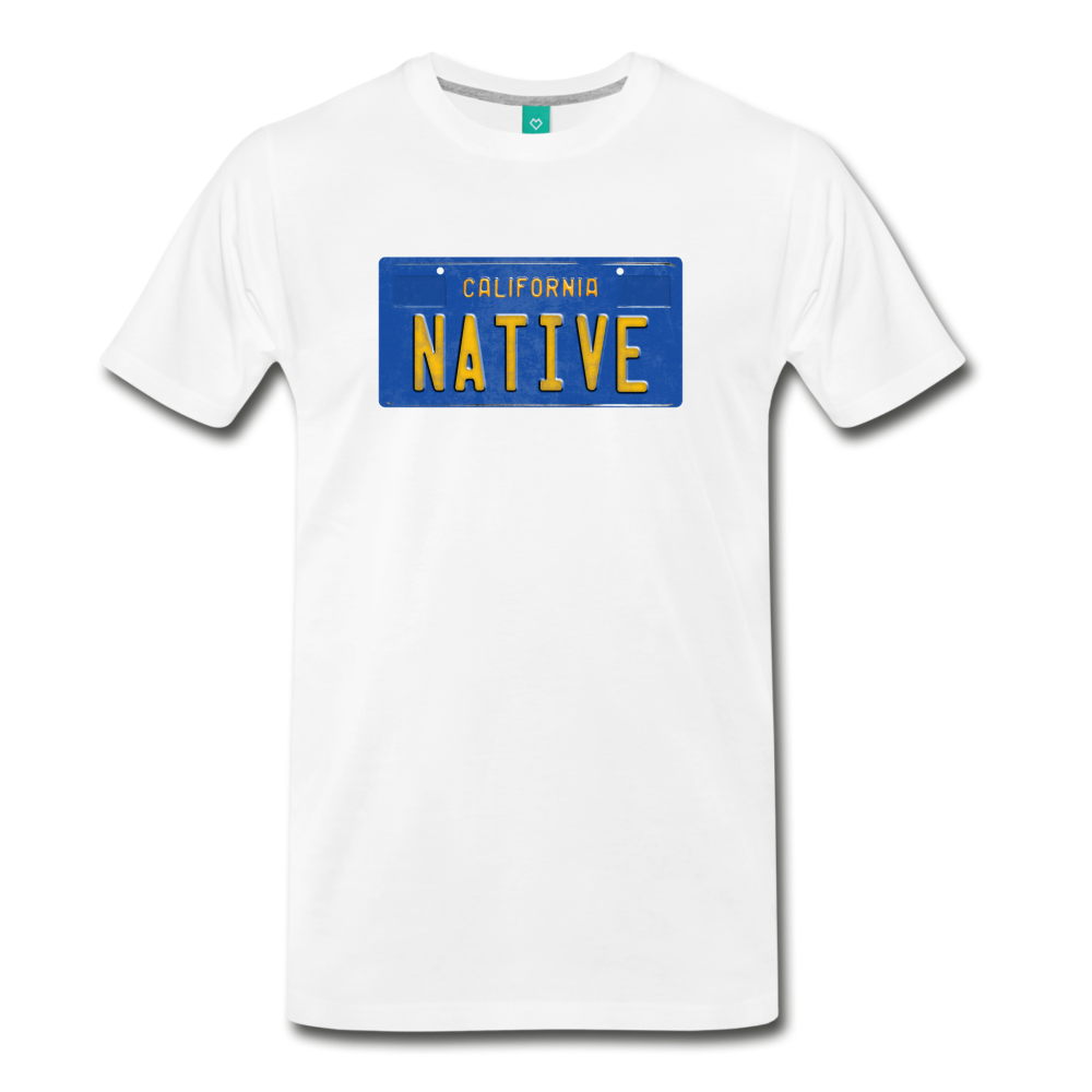 NATIVE vintage California blue/yellow license plate on a unisex T-shirt - white